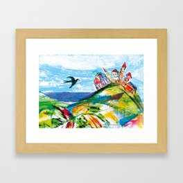 Swallow in the fairytale, painted pattern for kids, colourfull illustration Framed Art Print