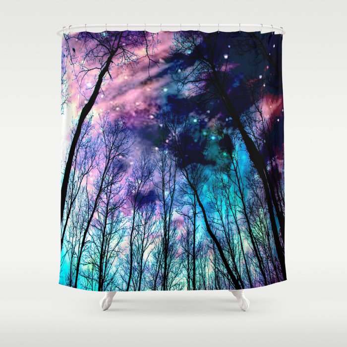 Black Trees Colorful SpacE Shower Curtain