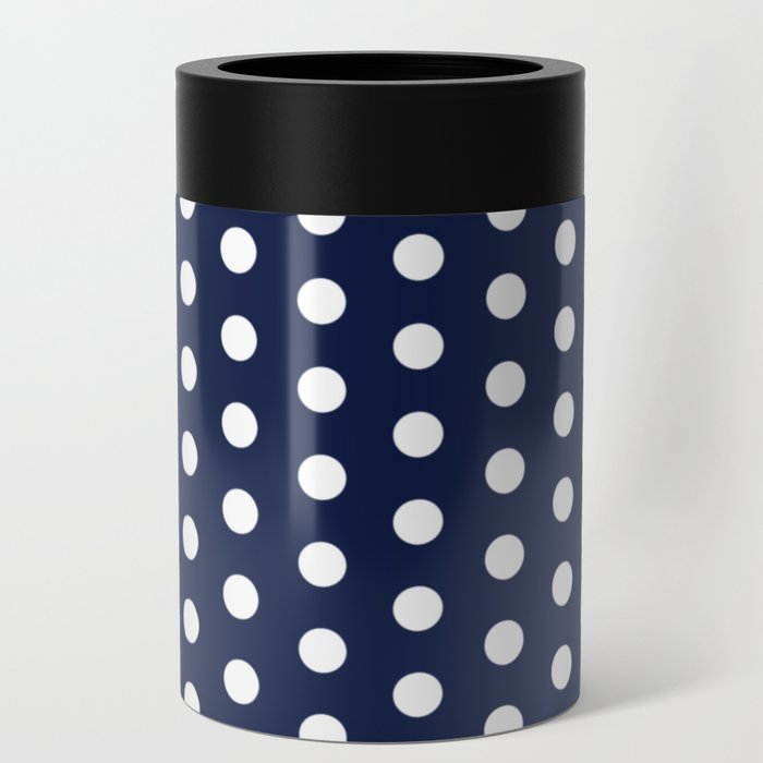 Navy Blue Polka Dot Can Cooler