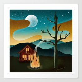 Swan Lake Cabin  Art Print