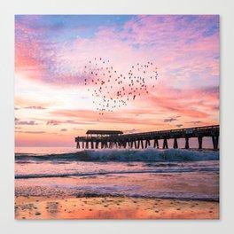 Bird Heart at Sunrise Canvas Print