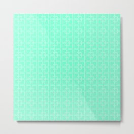 Aquamarine and White Interlocking Square Pattern Metal Print