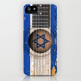 Old Vintage Acoustic Guitar with Israeli Flag iPhone Case