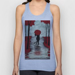 Red Autumn Rain Romance Unisex Tank Top