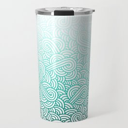 Gradient turquoise blue and white swirls doodles Travel Mug