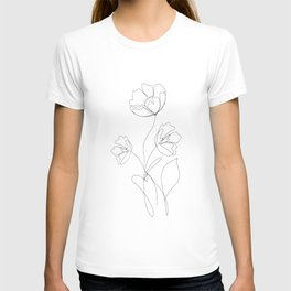Poppies Minimal Line Art T-shirt