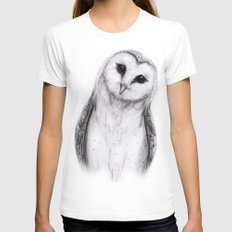Barn Owl Sketch Womens Fitted Tee White MEDIUM