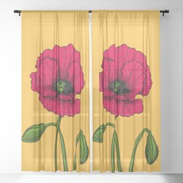 Red poppy drawing Sheer Curtain