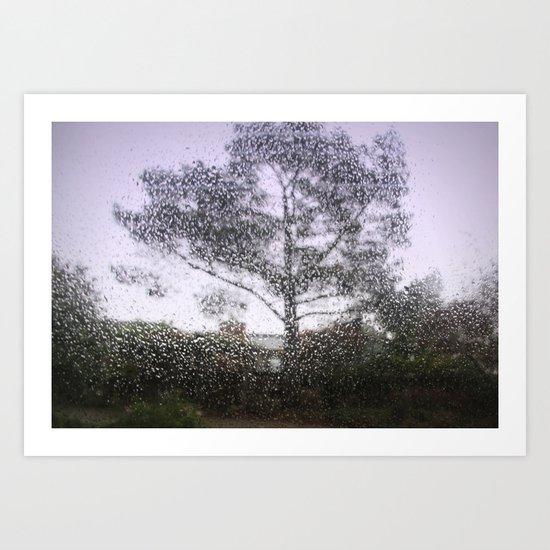 tree in the rain Art Print