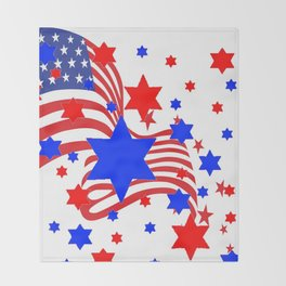 PATRIOTIC JULY 4TH AMERICAN FLAG ART Throw Blanket