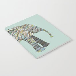 Elephant Paper Collage in Gray, Aqua and Seafoam Notebook