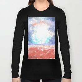 Abstract Calm Beach, Rocks and Empty Sky Pastel Styled Long Sleeve T-shirt