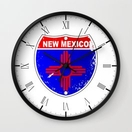 New Mexico Flag Icons As Interstate Sign Wall Clock
