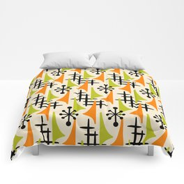 Mid Century Modern Atomic Wing Composition Orange and Chartreuse Comforters