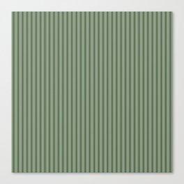 Small Dark Forest Green Mattress Ticking Bed Stripes Canvas Print