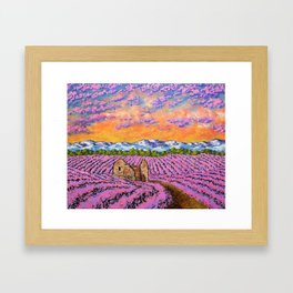Lavender Farm by Mike Kraus - provence france french flowers landscape clouds mountains field house Framed Art Print