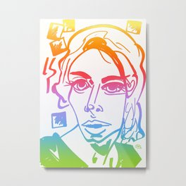 Rainbow Long Face Portrait of a Woman with Squares Metal Print
