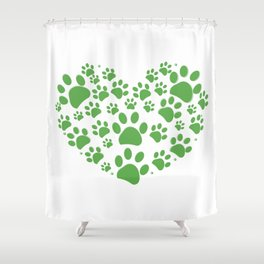 Green dog paw print made of heart Shower Curtain