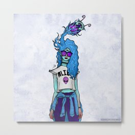 Alien Influencer Metal Print