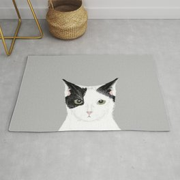 Manny - Black and white cute cat gift cat person cat lady funny cat meme pet portraits customizable  Rug