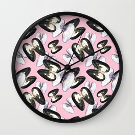 Unio Crassus Pattern in Pink Wall Clock