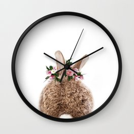 Bunny Tail, Baby Rabbit, Bunny With Flower Crown, Baby Animals Art Print By Synplus Wall Clock