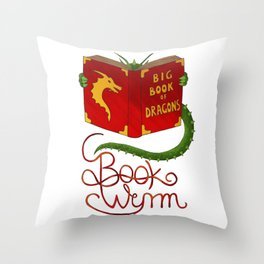 Book Wyrm Throw Pillow