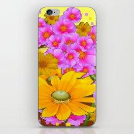 MODERN RAZZLE-DAZZLE PINK-YELLOW FLORALS iPhone Skin