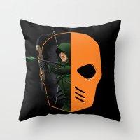 superheros Throw Pillows featuring Masked by Dooomcat