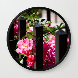 Flowers and Wrought Iron Wall Clock