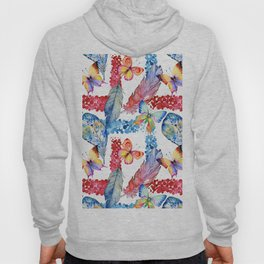 Abstract pink blue watercolor butterfly boho floral pattern Hoody