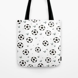 Fun grass and soccer ball sports illustration pattern Tote Bag
