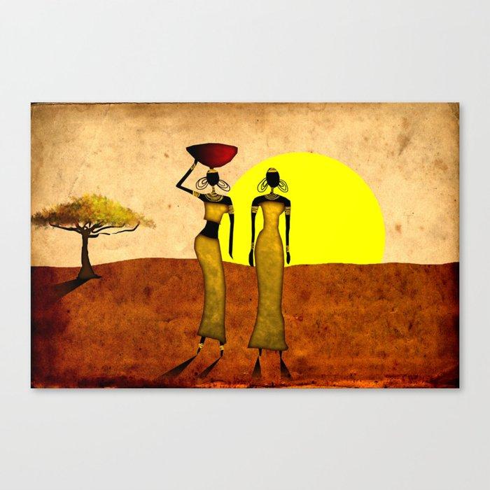 Africa retro vintage style design illustration Canvas Print