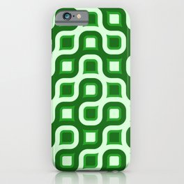 Truchet Modern Abstract Concentric Circle Pattern - Green iPhone Case