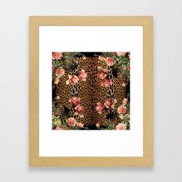 Leopard and Roses Framed Art Print