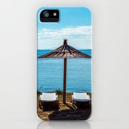 Beach umbrella at the sea in Premantura iPhone Case