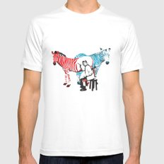 Zebra Painter print MEDIUM White Mens Fitted Tee
