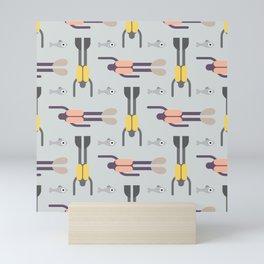 Scuba Divers Pattern Mini Art Print