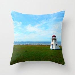 Tiny Lighthouse and Giant Bridge Throw Pillow