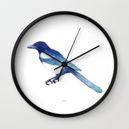 Magpie (Pica pica) - blue and turquoise Wall Clock