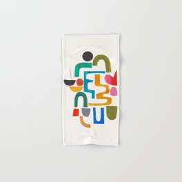 'Collide' Abstract Colorful Paper Collage Minimal Mid Century Pattern by Ejaaz Haniff Hand & Bath Towel