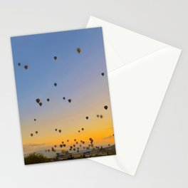 Colorful hot air balloons against blue sky at Cappadocia Turkey Stationery Cards