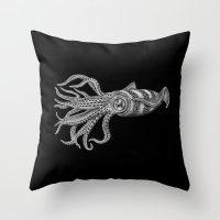 squid Throw Pillows featuring Squid by Tim Jeffs Art