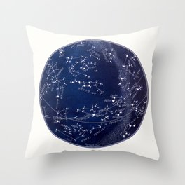 French April Star Maps in Deep Navy & Black, Astronomy, Constellation, Celestial Throw Pillow