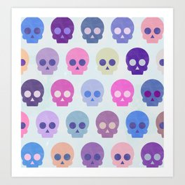 Colorful Skull Cute Pattern III Art Print