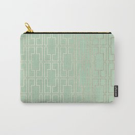 Simply Mid-Century in White Gold Sands and Pastel Cactus Green Carry-All Pouch