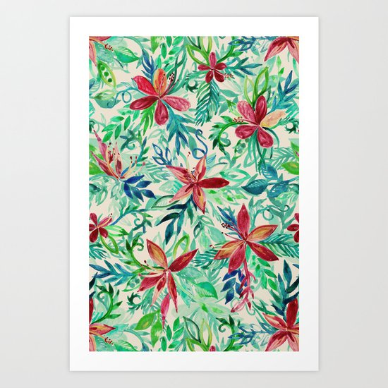 Vintage Tropical Floral - a watercolor pattern Art Print