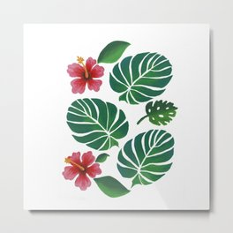Hibiscuses and Palm Leaves Metal Print