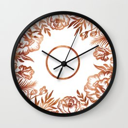 Letter O - Faux Rose Gold Glitter Flowers Wall Clock