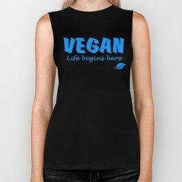 Vegan life begins here blue letters Biker Tank